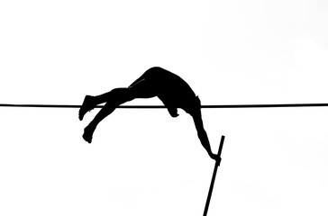 pole vault athlete in black and white