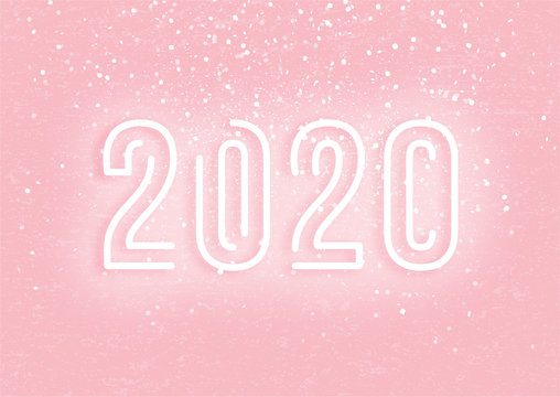 2020 New Year neon sign on pink background, vector illustration. Silver confetti flying in the air, festive white letters 2020 on pink poster with grunge texture, modern banner concept.