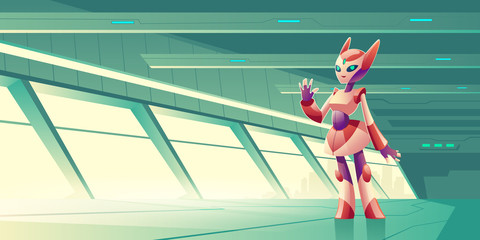 Female alien robot, artificial intelligence robotic servant, computer game anthropomorphous cyborg cat character, standing in future futuristic world skyscraper terrace cartoon vector illustration
