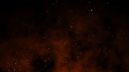 3D Burning embers glowing. Fire Glowing Particles on Black Background Wall mural