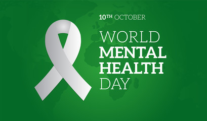 World Mental Health Day Green Background Illustration with Ribbon