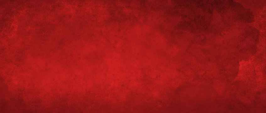 Red background with texture and distressed vintage grunge and watercolor paint stains in elegant Christmas color illustration