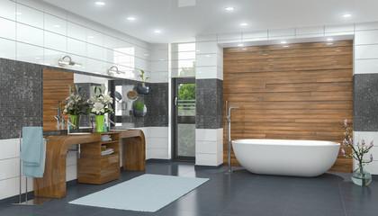 3d Illustration - Modernes Badezimmer in weiß mit einer freistehenden Badewanne, zwei Waschbecken und einem großen Spiegel