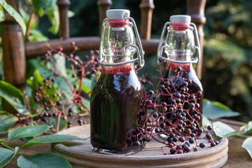 Two bottles of black elder syrup with elderberries