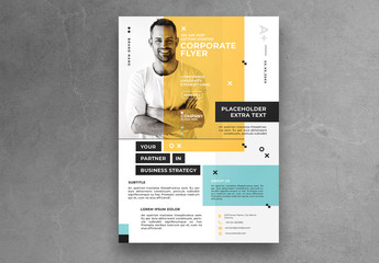 Minimalist Flyer Layout with Yellow Accents