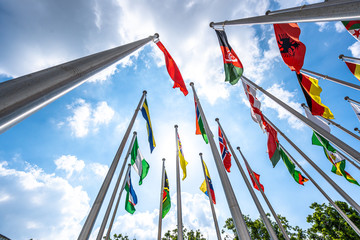 flags  with blue sky