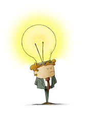 businessman has placed a light bulb as an idea in his head. isolated