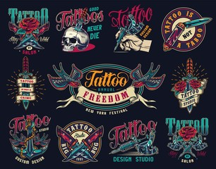Tattoo studio colorful vintage badges