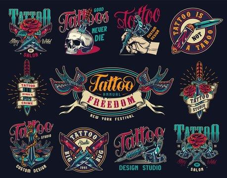Tattoo studio colorful vintage badges