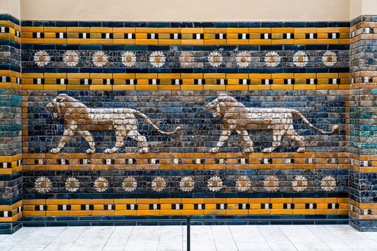 Lions from the Processional Way, Ishtar Gate, Pergamon Museum, Museum Island, Berlin, Germany, Europe, West Europe