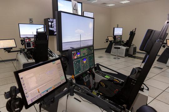 Fighter aircraft simulator training room