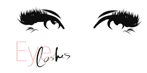 Women's eyes with long eyelashes. Hand drawn and calligraphic design elements on the theme of beauty and makeup. Vector