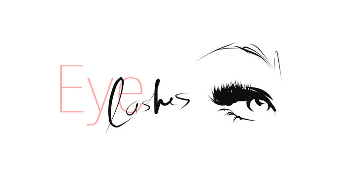 Woman's eye with long lashes. Hand drawn and calligraphic design elements on the theme of beauty and makeup. Vector