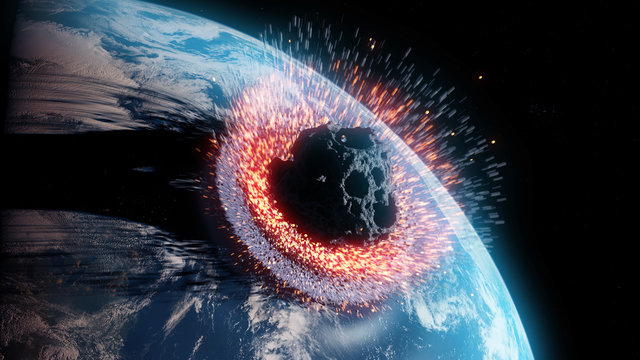 3d rendered illustration of an asteroid impacts earth