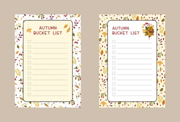 Autumn bucket lists flat vector templates set. Weekly and daily .planner pages designs pack. Diary, notepad checklist layout