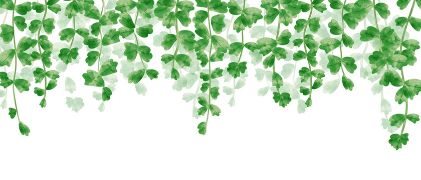 Wallpaper of hanging leaves in green watercolor illustration.