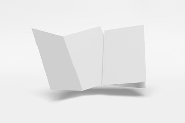 Two Mockup vertical booklet, brochure, invitation isolated on a white background with hard cover and realistic shadow. 3D rendering.