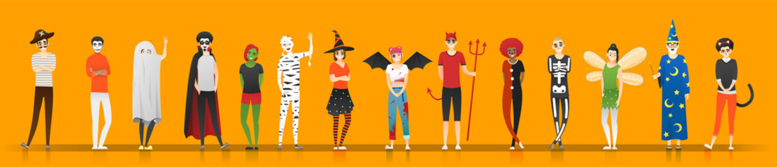 Happy Halloween , group of teens in Halloween costume concept isolated on orange background , vector, illustration Fototapete