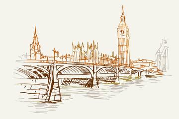 Rysynek ręcznie rysowany. Widok na most w Londynie obok wieży Big Ben i  westminster