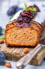 Freshly baked plum cake.