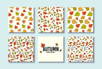 Autumn textures. Vector design for card, poster, flyer. Trendy hand drawn seamless patterns. Fall leaf textures. Floral flyer decoration. Background with autumn leaves. Leaf design. Seamless vector