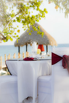 wedding table by the sea