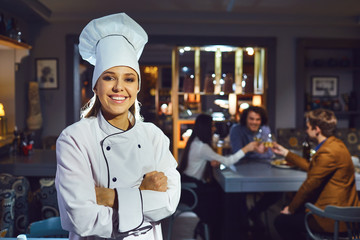 Woman chef in a restaurant.