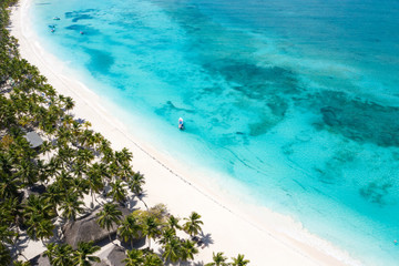 Fototapete - Aerial view from drone on tropical island with palm trees and speed boat shipping in caribbean sea