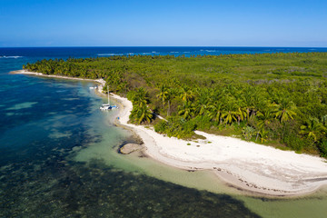 Fototapete - Aerial view from drone on tropical beach with palm trees and yacht floating in caribbean sea