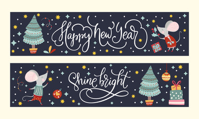Christmas funny cartoon mouse poster set in a flat style. Winter vector long banner collection with cute New Year mice for social media and sales.
