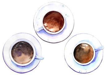 Top down view of coffee cups. Watercolor illustration isolated on white background.