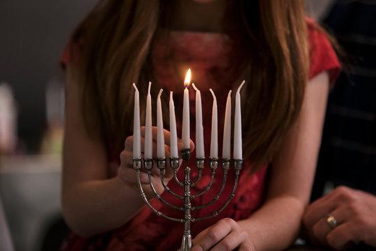 Hanukkah: Lit Shamash On Menorah