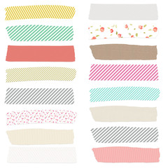 Washi Tape on Isolated White Background. Cute Washi Tape