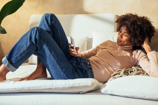 Woman at home.