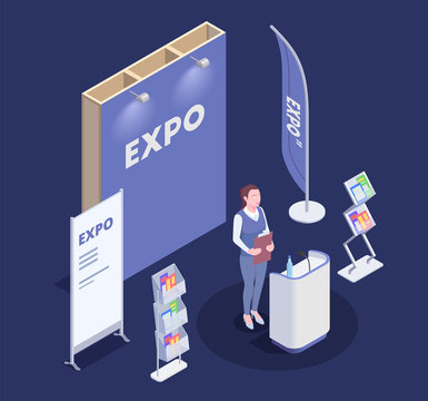 Expo Stand Isometric Composition