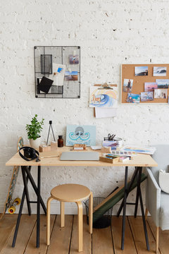Workspace of artist