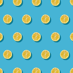 Lemon Pattern on Yellow Background