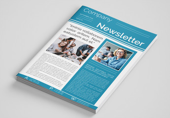 Business Newsletter Layout with Teal Accents