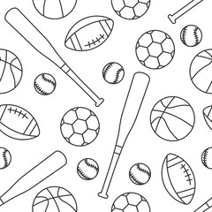 Sporting equipment seamless pattern. American football, soccer, basketball and baseball balls with bat. Vector illustration isolated on white.