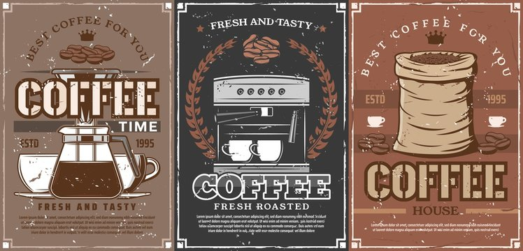 Coffee espresso cup and coffee beans bag
