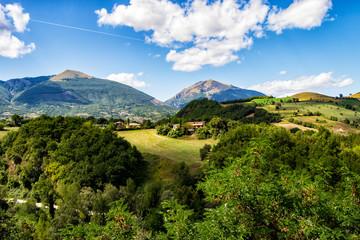 Panorama of the twin mountains around Campli, Abruzzo, Italy