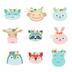 Set of cute animals with floral wreath. Raster illustration in flat cartoon style