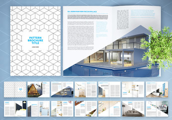 Brochure Layout with Geometric Pattern and Blue Accents