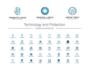 Digital technology and protection creative symbols set. Security lock abstract business logo concept. Camera eye, shield, smart robot hand icons. Corporate identity logotypes, company graphic design