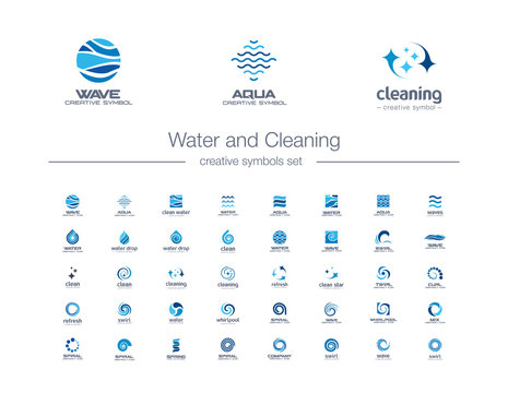 Water drops, waves and Cleaning creative symbols set. Pure aqua, bio drink abstract business logo concept. Easy wash, refresh, sea, ocean icons. Corporate identity logotypes, company graphic design