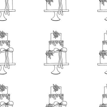 Vector wedding cake pattern for Wedding invitations or announcements