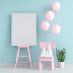 Empty photo frame on pink chair for mockup, 3D rendering