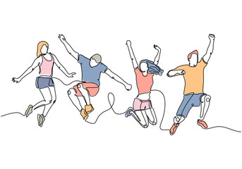 Continuous line drawing of a group of friends jumping with joy and freedom. Vector illustration community hand drawn. Happiness concept.