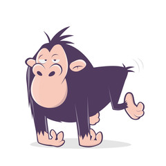 funny cartoon illustration of an ape