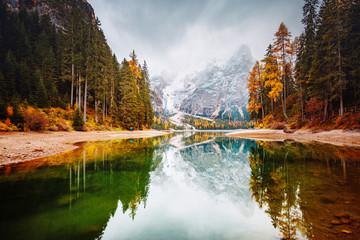 Aluminium Prints Autumn Scenic image of alpine lake Braies (Pragser Wildsee). Location place Dolomiti national park Fanes-Sennes-Braies, Italy, Europe.